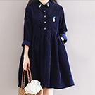 日系 鳳梨刺繡連身裙洋裝
