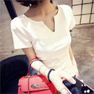 韓版時尚純色v領修身T恤