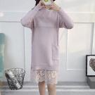 針織蕾絲假兩件洋裝