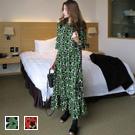 氣質花紋荷葉邊五分袖長洋裝