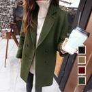 時尚首選開襟雙排釦毛呢大衣