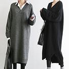 韓國 大V領加厚針織連身裙