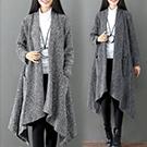秋冬文藝設計不規則加厚 針織外披開衫圍巾領外套