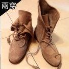 韓國反折兩穿麂皮靴