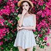 ◆ 顏色 / 灰色、卡其色 ◆ 波西米亞風 ◆ 細肩帶荷葉邊連身褲裙✨