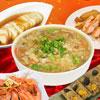 約3-5人份的小家庭份量 海鮮羹、蔗香燻雞切盤、紹興醉白蝦 福洲米糕、鮑味螺旋貝