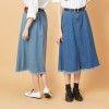 VOL903  下襬鬚邊設計  方袋金屬銅釦A字裙  單寧藍、個性淺藍~2色