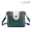 時髦撞色搭配復古小包, 獨特菱形轉鎖,精緻有設計感, 包邊有葉片造型繡邊裝飾。
