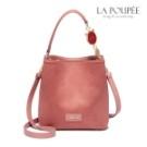 氣質乾燥玫瑰粉色實用手提包, 異材質拼接,低調有設計感, 可愛萌系貓咪點綴在提把上,更加出色。