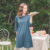 七分袖的長度正好適合剛好轉涼的天氣 長版版型可以當洋裝也可以當上衣穿著