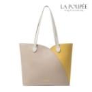 氣質風格雙色拼接大包, 輕甜美鬱金香花瓣形包邊, 大容量包款,肩背、手提兩用。