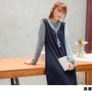 假兩件柔和配色拼接,知性學院氣息 甜美小V字荷葉領剪裁,搭配可愛綁帶設計