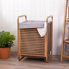 ‧ 竹製支架堅固耐用 ‧ 收納空間大 ‧ 附上蓋布套,遮蔽汙衣物佳