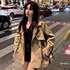 秋冬韓國連線短版風衣外套  版型修身氣質感十足又百搭   雙排釦束口袖英倫風衣外套