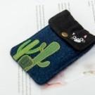 金屬釦開口 零錢包內外皆有刺繡圖樣