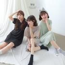 VOL126 薄款涼爽親膚材質 舒適圓領及膝睡衣 黑、綠、灰~3色