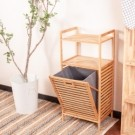 ‧竹製材質 堅固耐用  ‧污衣袋放置衣物空間大 ‧附雙層板,可放置洗衣劑或其他雜物