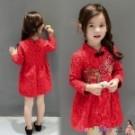 女童拜年服新年裝 刺繡花朵蕾絲旗袍領加絨洋裝 連身裙