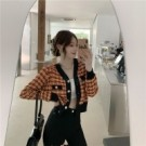 VK精品服飾 韓系單排扣V領撞色百搭針織開衫單品長袖上衣