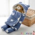 嬰兒包巾 懶人包巾 保暖雙層羊羔絨嬰兒分腿式睡袋