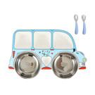 隔餐盤附304不鏽鋼碗湯匙叉子餐具組