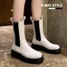 切爾西靴-俐落個性拼接中筒馬丁靴【XGX5846】 時尚街頭帥氣風 拼接鬆緊帶懶人穿搭款