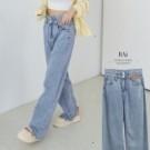 VOL117 雙釦高腰寬管造型 仿舊帥氣丹寧落地褲 淺藍色個性俐落百搭