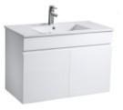 薄邊造型陶瓷面盆 寬61x深47x高62cm 100%防水PVC發泡板鋼烤,耐用不腐爛 緩降靜音門片