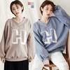 ◆韓國製造 ◆厚感內刷毛材質 ◆H字母膠印設計 ◆羅紋V字領口造型 ◆中大尺碼(寬鬆版)
