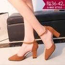 加大碼婚鞋-素雅尖頭一字扣帶高跟鞋(36-42碼)【XLW200827】 側鏤空優雅女伶穿搭