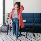 百貨專櫃女裝 重磅粗棉斜紋 襯衫外套兩穿 時髦百搭版型