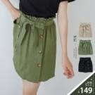 VOL117 琥珀色六釦造型 波浪荷葉鬆緊腰圍 黑、綠、卡~3色