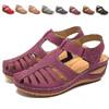 加大碼拖鞋-復古魔鬼氈鏤空洞洞厚底涼鞋(36-44碼)【XH82832】 舒適透氣涼拖 厚底減壓好走
