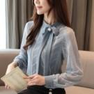 VK精品服飾 韓國風蝴蝶結雪紡蕾絲衫寬鬆時尚單品長袖上衣