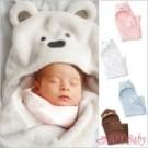 珊瑚絨動物造型連帽毛毯 嬰兒包被毯子 新生兒包巾被毯