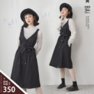 VOL105 雙肩吊帶連身裙 純色挺版斜紋面料 百搭黑色款俐落有型