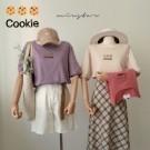 0406 餅乾刺繡超可愛,休閒好搭!下襬是伸縮設計。