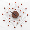 ◆ MDF材質鐘面,時分針採鋁材質 ◆ 放射球狀為橡膠木圓片 ◆ 質量輕盈、無磁性 ◆ 靜音掃秒機芯