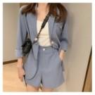 VK精品服飾 韓系氣質紐扣西裝外套寬口短褲套裝長袖褲裝