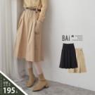 VOL105 素面微挺面料款式 修飾感傘擺A字中長裙 高雅黑、質感卡~2色
