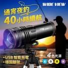 四色光源,可調三檔光線強度 可伸縮調焦,200米照射距離 配置大支架, 夜釣不礙手