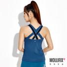 U領設計結合透膚網紗提升精緻度 45°推推罩杯舒適提托胸部 美背異材質交叉寬肩帶加強穩定度