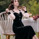 #香奈兒風洋裝 #絲絨洋裝 #約會 #長袖小禮服 #謝師宴 #顯瘦 #宴會#主持人禮服