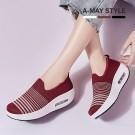 休閒鞋-條紋針織厚底氣墊健走鞋【XM202355】 氣質減齡穿搭款 修飾增高厚底搖搖鞋設計