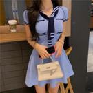 VK精品服飾 韓國海軍風撞色收腰顯瘦針織短裙短袖洋裝