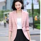 #OL #上班 #格紋#五分袖 #春裝 #春夏外套