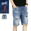 潮男必備 牛仔短褲 補釘內裡黑色設計 增加層次感 加上潮流刷破元素 帥氣加倍 無論怎麼穿都百搭有型