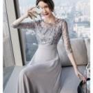 #洋裝 #短袖禮服 #婚禮 #約會 #方領 #謝師宴 #顯瘦 #宴會 #長裙
