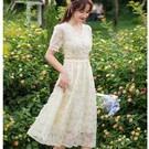 #中長洋裝 #網紗花朵洋裝 #約會 #華麗風 #謝師宴 #顯瘦 #宴會服飾