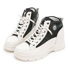 6.5cm隱形內增高 鞋面全真皮柔軟親膚 彈力免綁帶設計 橡膠紋路大底防滑耐磨